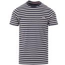 fred perry breton stripe t-shirt carbon blue