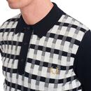 FRED PERRY Mod Abstract Check Knitted Polo Shirt