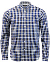 FRED PERRY THREE COLOUR GINGHAM CHECK SHIRT ROYAL