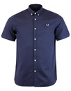 fred perry chequerboard shirt deep night