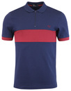 fred perry chest panel zip polo carbon blue