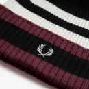 FRED PERRY Retro Chunky Knit Tipped Bobble Hat P
