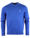 fred perry knitted crew neck jumper royal blue