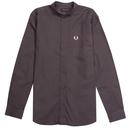 fred perry grandad collar oxford shirt charcoal