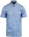 fred perry short sleeve oxford shirt mid blue