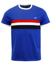 FRED PERRY STRIPE PANEL RINGER TEE REGAL BLUE