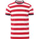 fred perry bold stripe ringer tee blood