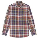 fred perry mens retro tartan check shirt navy