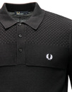 FRED PERRY Men's Mod Texture Knit Panel Polo Shirt