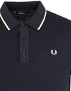 FRED PERRY TIPPED KNITTED SHIRT K7200 608 NAVY
