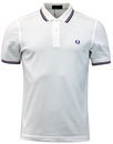 fred perry twin tipped pique polo white