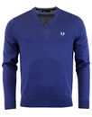 fred perry kitted v-neck jumper french navy