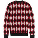 FRED PERRY 60s Mod Harlequin Argyle Cardigan