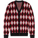 fred perry mens merino wool blend jaquard harlequin knitted cardigan crimson red black