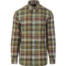 fred perry mens tartan check long sleeve shirt military green
