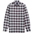 fred perry mens tartan oxford long sleeve shirt white black