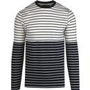 french connection mens stripe crew neck long sleeve top cream navy