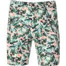 gabicci vintage mens jungle bold print shorts green