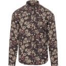 gabicci vintage mens keitel floral print long sleeve shirt juniper grey