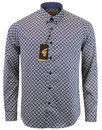 gabicci vintage retro 60s mod lattice print shirt