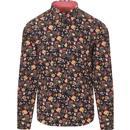 gabicci vintage mens martin flower print long sleeve shirt navy