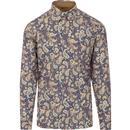 gabicci vintage mens kraft paisley print long sleeve shirt hay blue