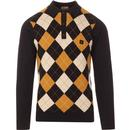 gabicci vintage putter argyle knitted polo shirt black