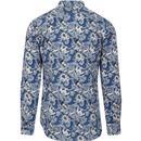 Slick GABICCI VINTAGE 60s Mod Paisley Shirt (Blue)