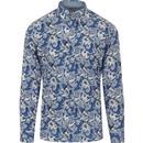 gabicci vintage mens slick paisley print long sleeves shirt cologne blue