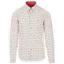 Gabicci Vintage Langdale 1960s Mod Paisley Shirt in White