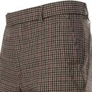 GIBSON LONDON Mod Gingham Check Suit Trousers FAWN