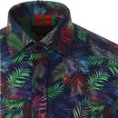 GUIDE LONDON Retro 70s SS Neon Floral Shirt (Navy)