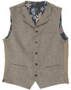 GIBSON LONDON High Fasten Sand Donegal Waistcoat