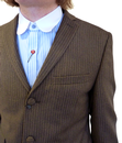 GIBSON LONDON Mod 3 Button Brown Pinstripe Suit