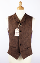 GIBSON LONDON Retro Mod Gold Donegal Waistcoat