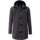 gloverall mens mid lenght hooded duffle coat grey blackwatch