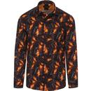 guide london mens abstract botanical print long sleeve shirt black yellow