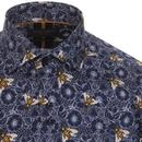 GUIDE LONDON Men's Mod Floral Honey Bee Shirt