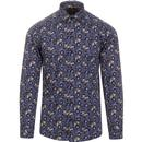 guide london mens bees and flowers bold print long sleeve shirt navy white