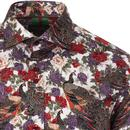 GUIDE LONDON Retro Mod Peacock Floral Shirt