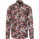 guide london mens bold floral peacock print long sleeve shirt white multi