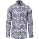 guide london mens bold botanical print long sleeve shirt blue white