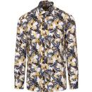 guide london mens feather print long sleeve shirt blue tan