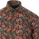 GUIDE LONDON Retro Pin Dot Floral Flamingo Shirt