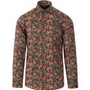 guide london mens floral flamingo bold print long sleeve shirt navy