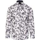 guide london mens flock paisley print long sleeve shirt white navy