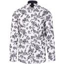 guide london mens paisley flock print shirt white