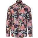 guide london mens bold floral print long sleeve shirt navy