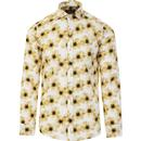 guide london mens bold floral print long sleeve shirt yellow white