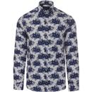 guide london mens floral print long sleeve shirt navy white